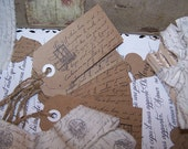 Set of 10 French Script Tags - Vintage - Antique - Wedding Invites - Shower Tags - Parisian Tags