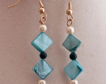 Blue Shell & Pearl Earrings