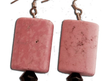 Pink Stone Earrings with Black Biconal Crystals