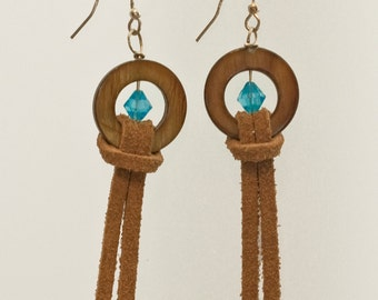 Leather Shell and Blue Crystal Earrings