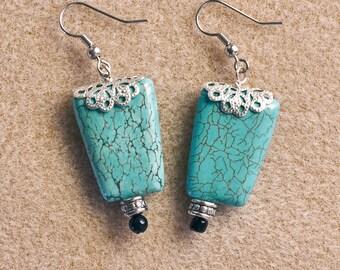 Turquoise Silver Black Earrings