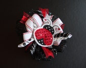 Lady Bug Ribbon Bow Accessories Girls Hair Bow Clip Babies Embroidered Lady Bug