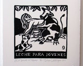 Relief Print, Leche Para Jovenes, milk for the young, cow milking woman, world upside down, animal rights