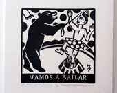 Relief Print, Vamos a Bailar, let's dance, bear as trainer, circus, world upside down, role reversal, animal rights