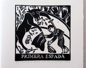 Relief Print, Primera Espada, the first sword, bull as bullfighter, world upside down, animal rights, role reversal
