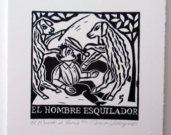 Relief Print, El Hombre Esquilador, man shearer, sheep shearing man, world upside down, animal rights, role reversal