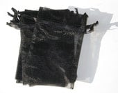 Set of 10 Black Organza Bags (4x6)