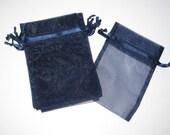 Set of 10 Navy Organza Bags (5x8)