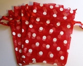 Set of 10 Red with White Polka Dot (3x4) Organza Bags