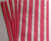 """SALE - Set of 20 Pink and White Vertical Stripe Design Middy Bitty Bags (5"""" x 7.5"""")"""