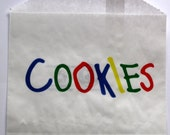 """Set Of 25 COOKIES White Waxed Paper BAGS (4-7/8"""" x 4"""")"""