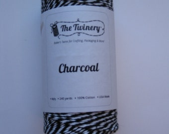 100 Yards of CHARCOAL - Black and White Bakers Twine