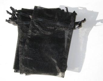 Set of 20 Black Organza Bags (4x6)