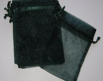 Set of 20 Hunter Green (5x8) Organza Bags