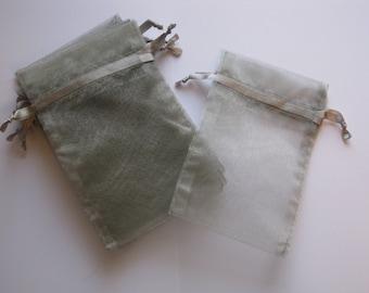 Set of 10 Silver (8x12) Organza Bags