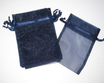 Set of 10 Navy Organza Bags (4x6)