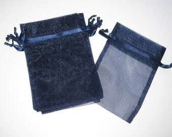 Set of 10 Navy Organza Bags (5x8)