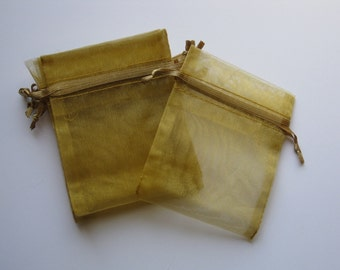 Set of 20 Old Gold Organza Bags (3x4)