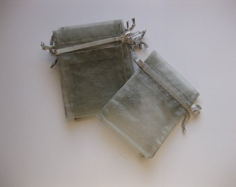 Set of 20 Silver Organza Bags (3x4)
