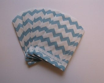 "Set of 20 Aqua and White Chevron Bitty Bags (2.75"" x 4"")"