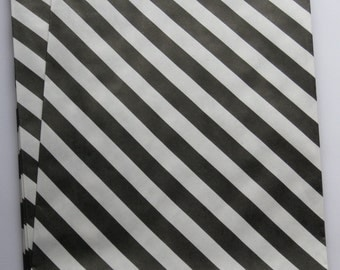 "Set of 10 Black and White Diagonal Striped Bigger Bitty Bags (6.25"" x 9.25"")"