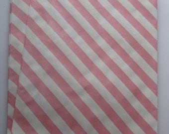 "Set of 10 Pink and White Diagonal Striped Bigger Bitty Bags (6.25"" x 9.25"")"