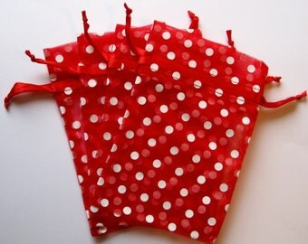 Set of 10 Red with White Polka Dot (4x6) Organza Bags