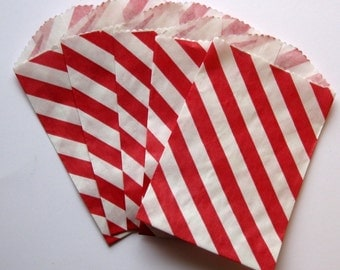 "Set of 20 Red and White Diagonal Striped Bitty Bags (2.75"" x 4"")"