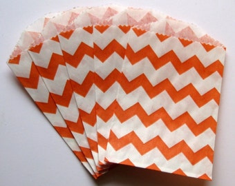 "Set of 10 Orange and White Chevron Design Middy Bitty Bags (5"" x 7.5"")"