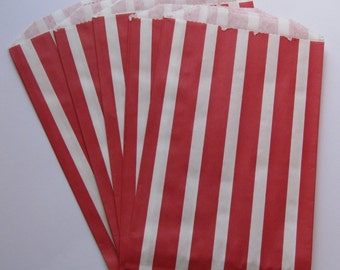"SALE - Set of 10 Red and White Vertical Stripe Design Middy Bitty Bags (5"" x 7.5"")"