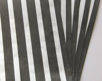 "SALE - Set of 20 Black and White Vertical Stripe Design Middy Bitty Bags (5"" x 7.5"")"