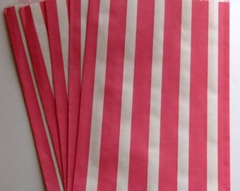 "SALE - Set of 20 Pink and White Vertical Stripe Design Middy Bitty Bags (5"" x 7.5"")"
