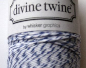 Full Spool - BLUEBERRY DIVINE - Blue and White Bakers Twine (240 yards)