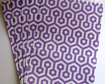 "Set of 10 Purple and White Honeycomb Middy Bitty Bags (5"" x 7.5"")"