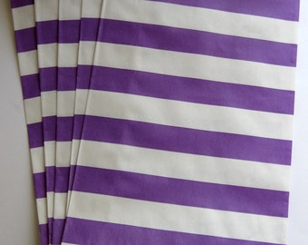 "Set of 10 Purple and White Horizontal Stripe Design Middy Bitty Bags (5"" x 7.5"")"