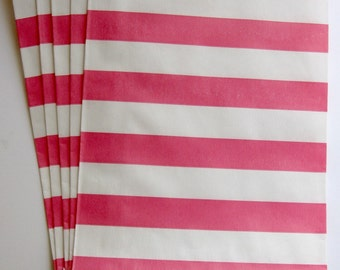 "Set of 20 Pink and White Horizontal Stripe Design Middy Bitty Bags (5"" x 7.5"")"