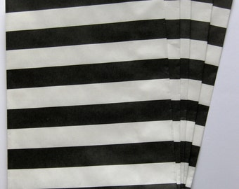 "Set of 10 Black and White Horizontal Stripe Design Middy Bitty Bags (5"" x 7.5"")"