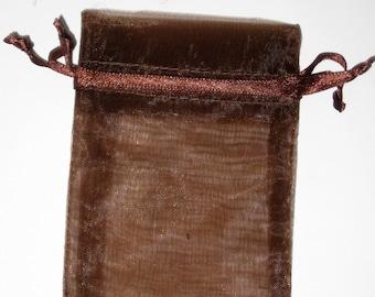 Set of 10 Brown (3x4) Organza Bags