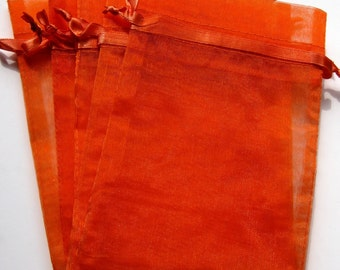 Set of 20 Orange (4x6) Organza Bags