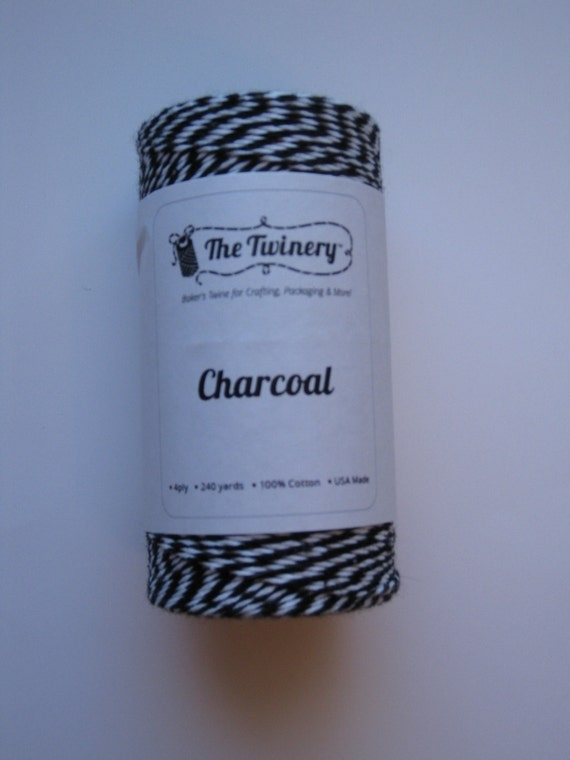 Full Spool - CHARCOAL - Black and White Bakers Twine (240 yards)