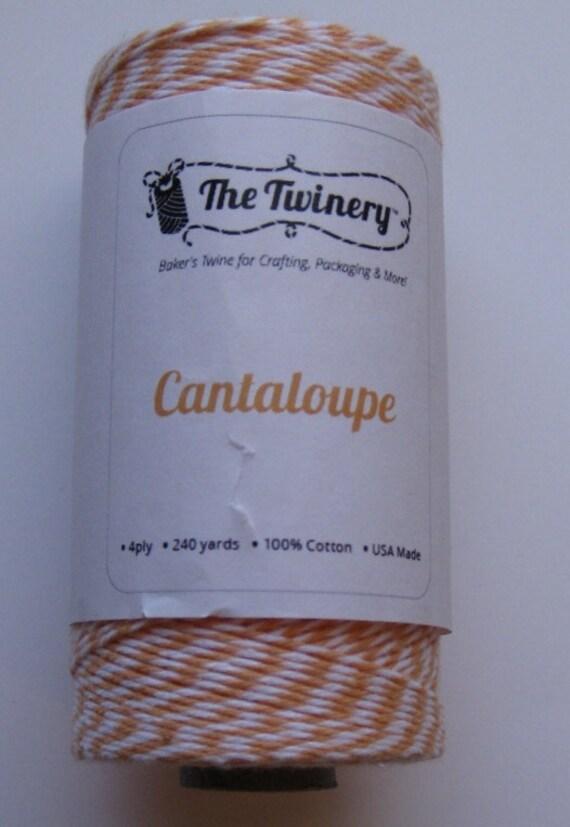 10 Yards of CANTALOUPE - Light Orange and White Bakers Twine