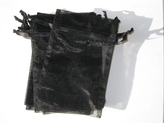 Set of 10 Black Organza Bags (4x6)