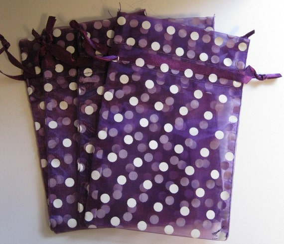 Set of 10 Purple with White Polka Dot Organza Bags (4x6)