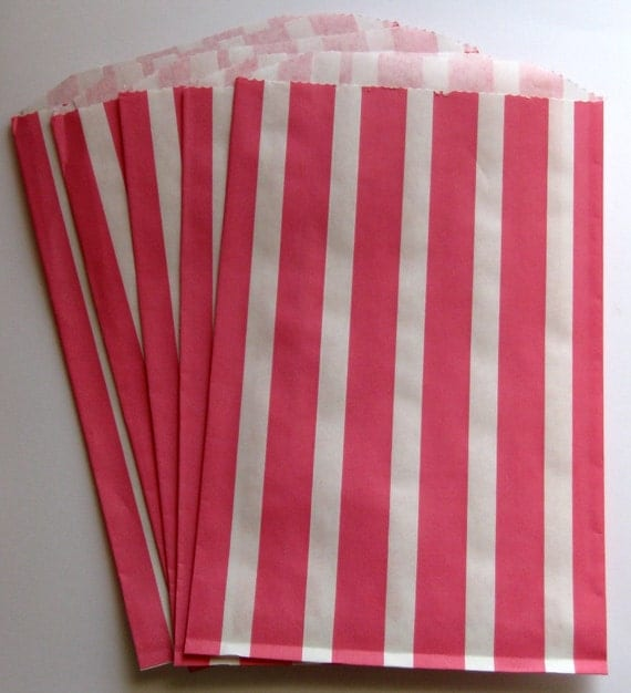 "SALE - Set of 10 Pink and White Vertical Stripe Design Middy Bitty Bags (5"" x 7.5"")"