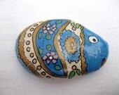 Flowery fish - inspired hand painted stones