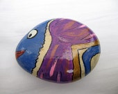 Blue-purple tropical fish - inspired hand painted stones