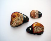 Gold angelfish family - inspired hand painted stones