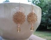 Copper Filigree Sunbrust with Champagne Swarovski Teardrop Crystal Earrings