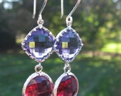 Bridesmaid Amethyst Purple and Fuchsia Pink Czech Glass Earrings-Silver