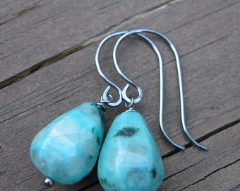 Quartz Teardrop Earrings with Oxidized Sterling Silver